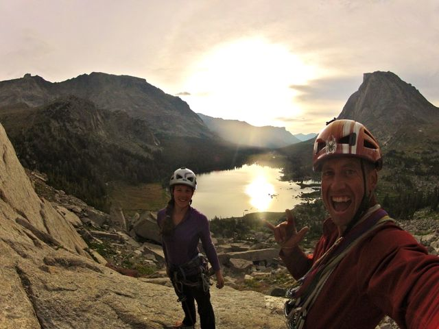 Above Lonesome Lake, getting psyched to climb the East Face Route on Pingora.