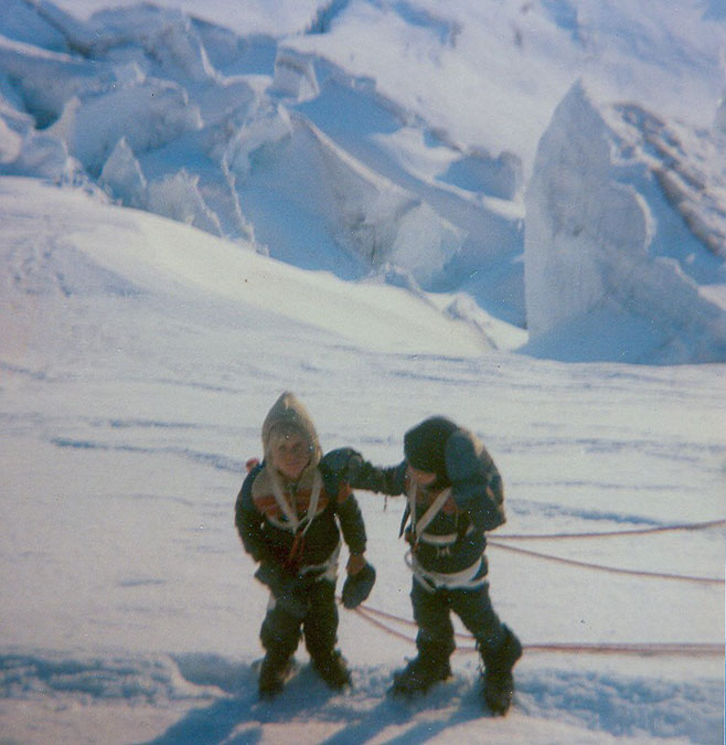Jason and his twin brother giving Mount Rainier a go at age six.