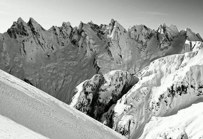 A mid-winter view of the Southern Pickets from high on Mount Fury in the Picket Range, North Cascades National Park.