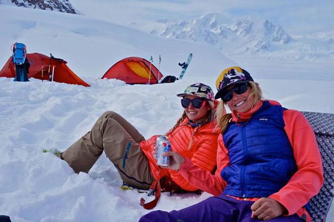 Liz and Caroline living large at basecamp.