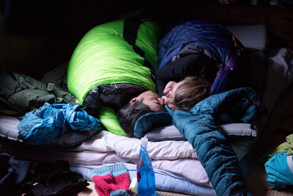 Adam U and Tess Golling sleep in.