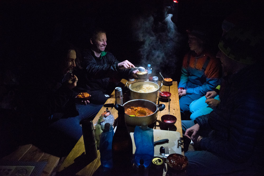 Pasta for dinner on the first night in the Shakotan Hut.