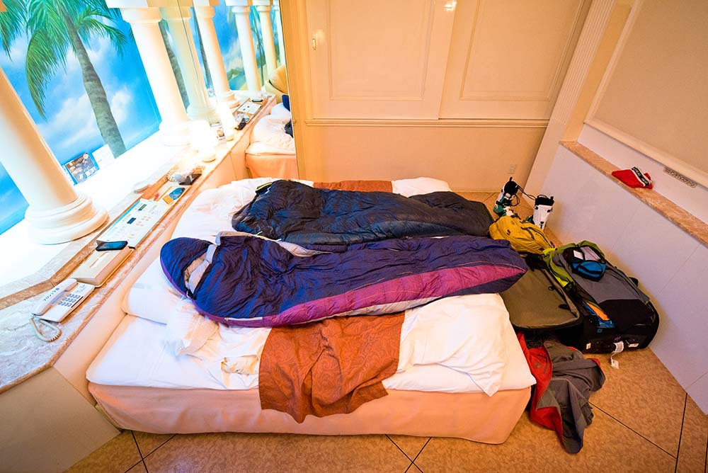 """A spacious room in the """"love hotel"""" of Osaka."""