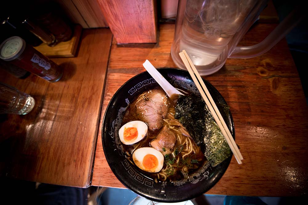 Chopstick etiquette on a bowl of ramen in Tokyo.