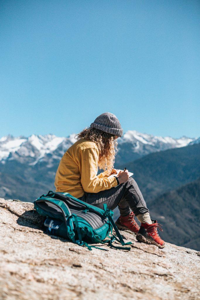 taking a break while hiking