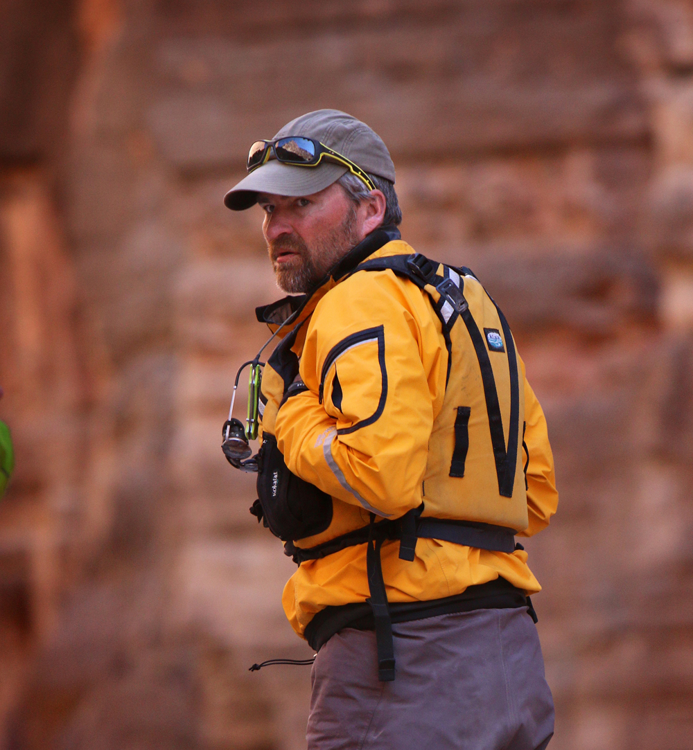 Scouting a rapid in Grand Canyon National Park – pic by Izzy Collett