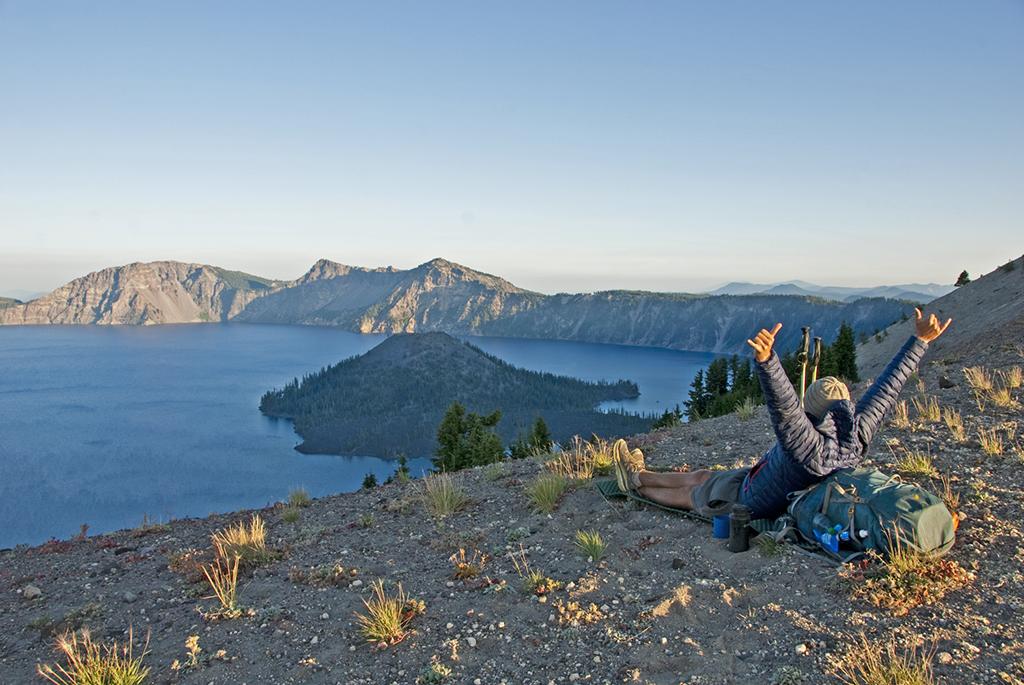 thru hiker laying down enjoying the view