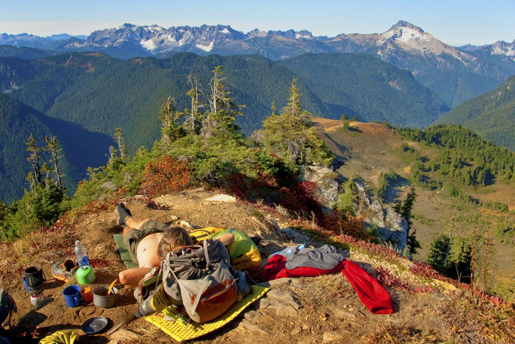 thru hiker resting in sun