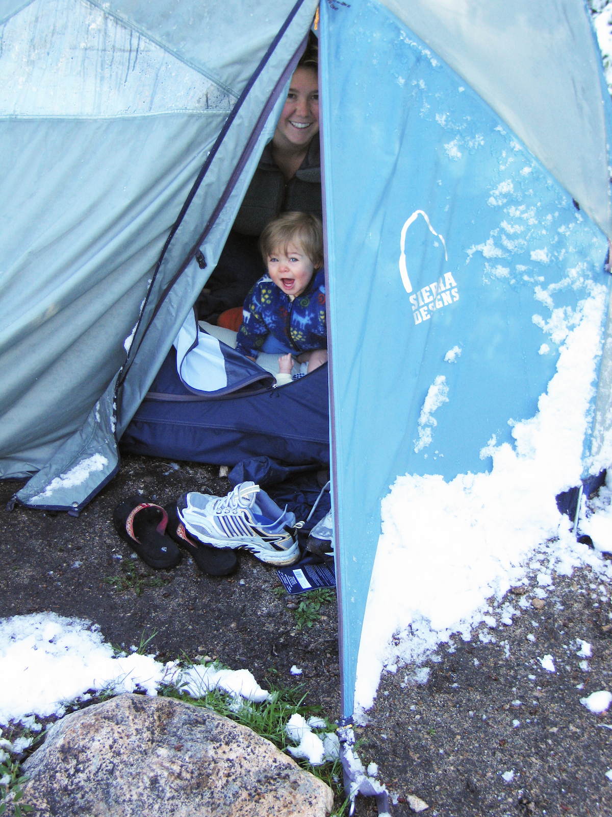 Rain, snow or shine, Abby was always a happy camper and spent over sixty nights in a tent her first year. With the right gear, camping with little ones is so much fun!