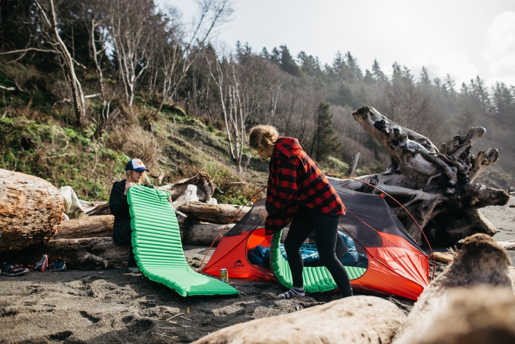 beach camping with sleeping pads