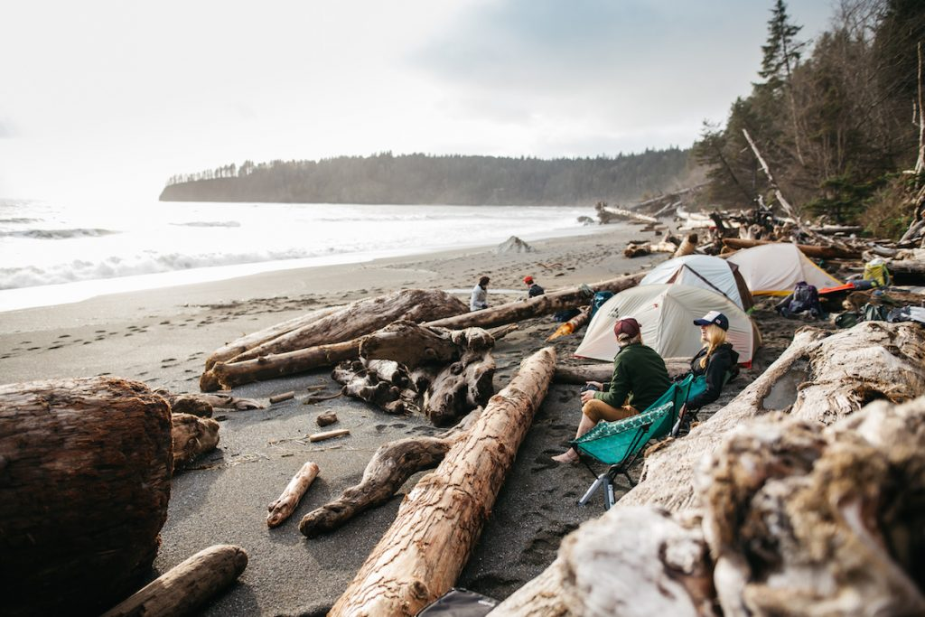 beach camping with tents