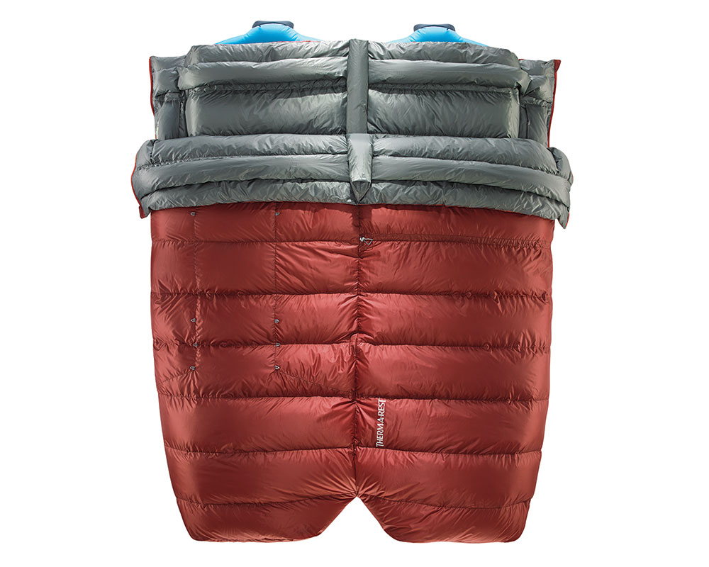 Two Dorado Duo sleeping bags zipped together.