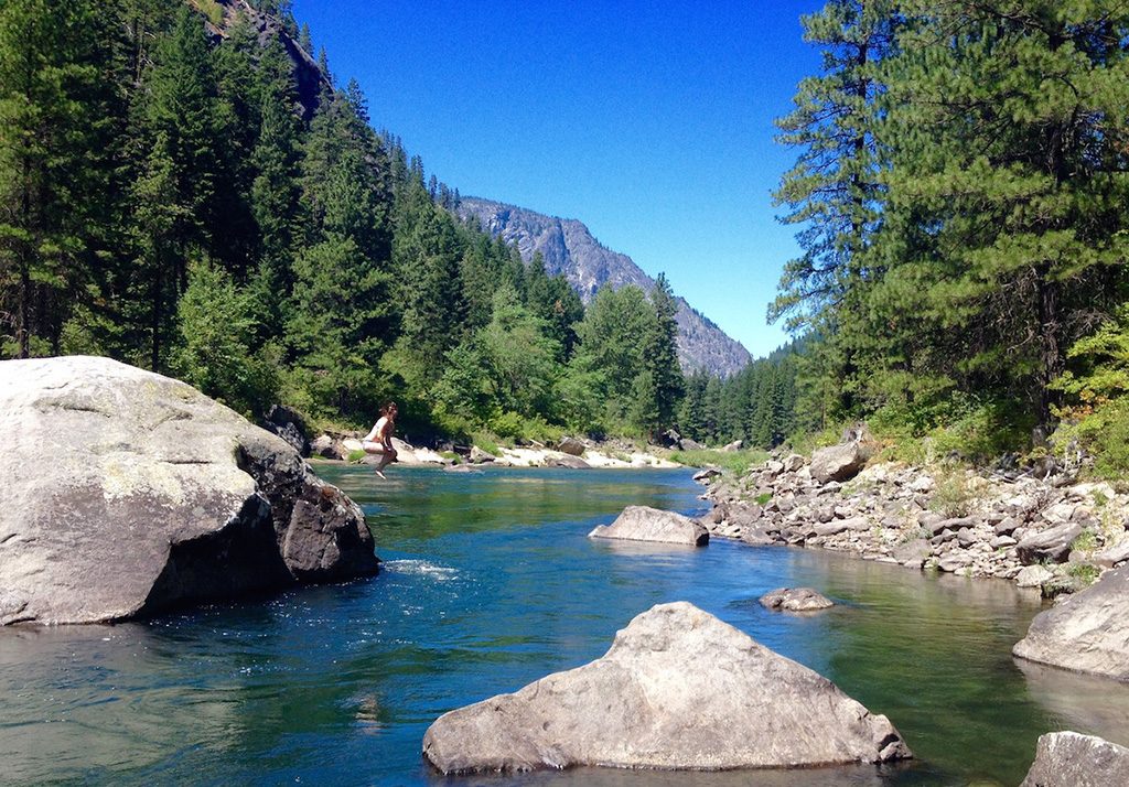 jumping in water for backcountry hygiene