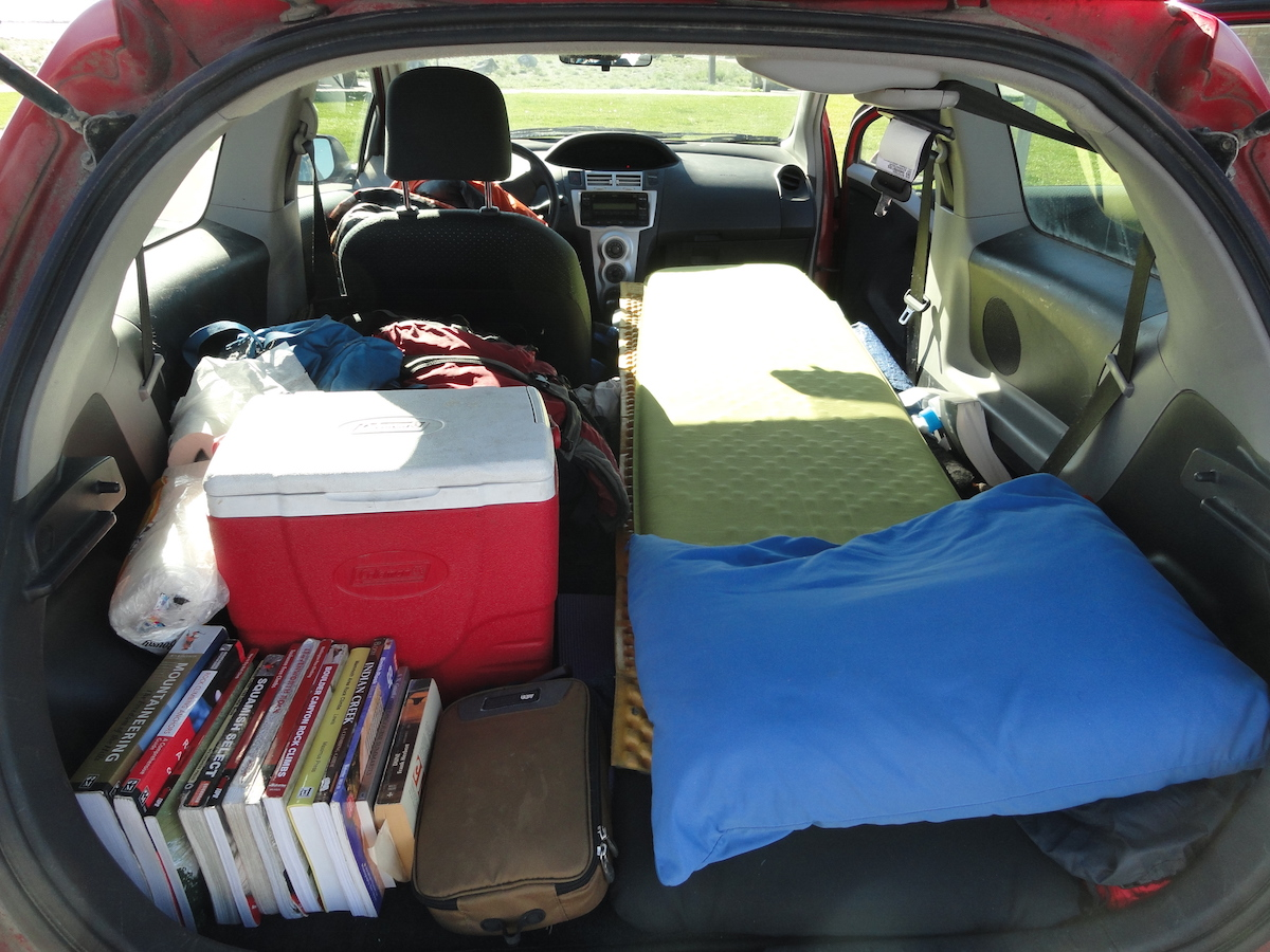 sleeping in car while camping
