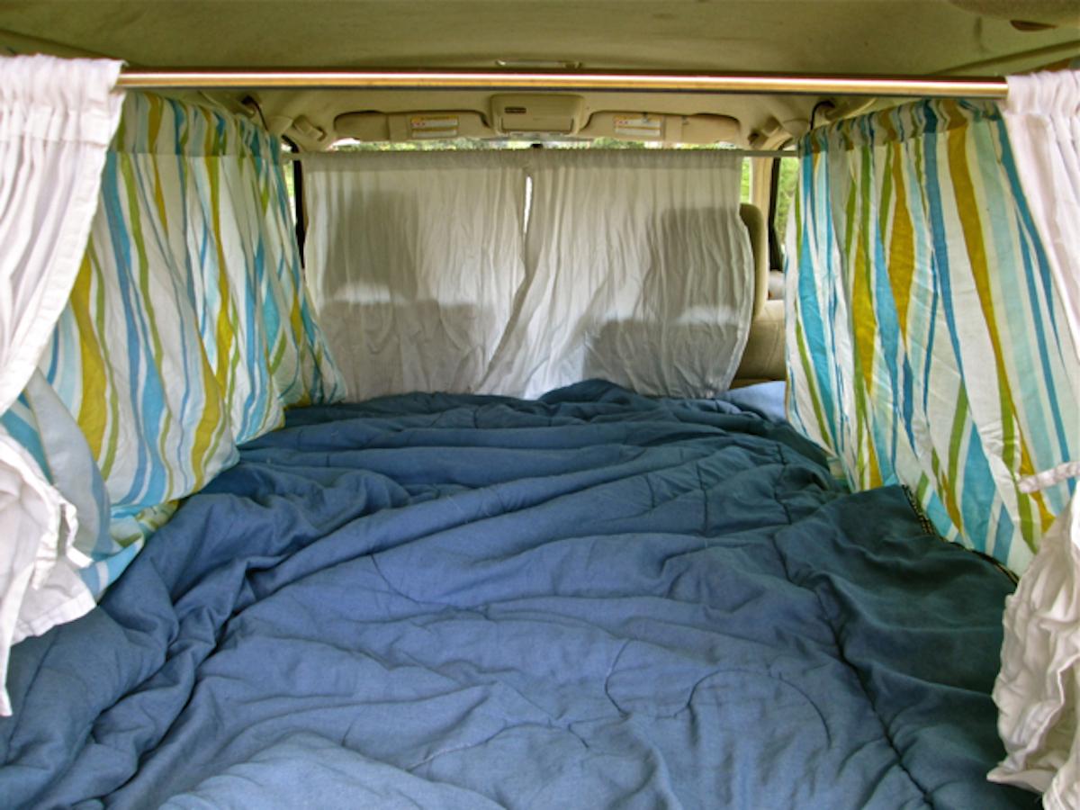 sleeping pad, blankets and bug screens