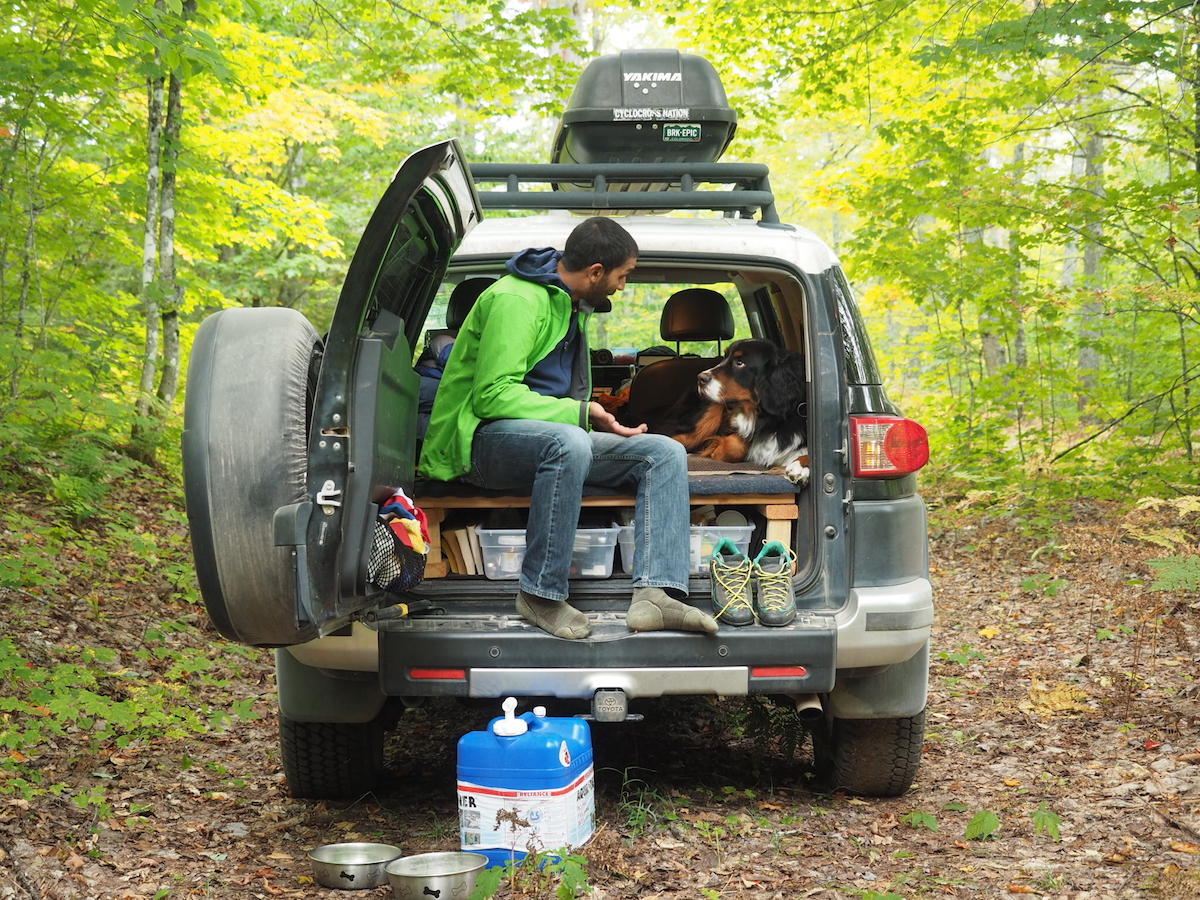 on car camping trip with dog