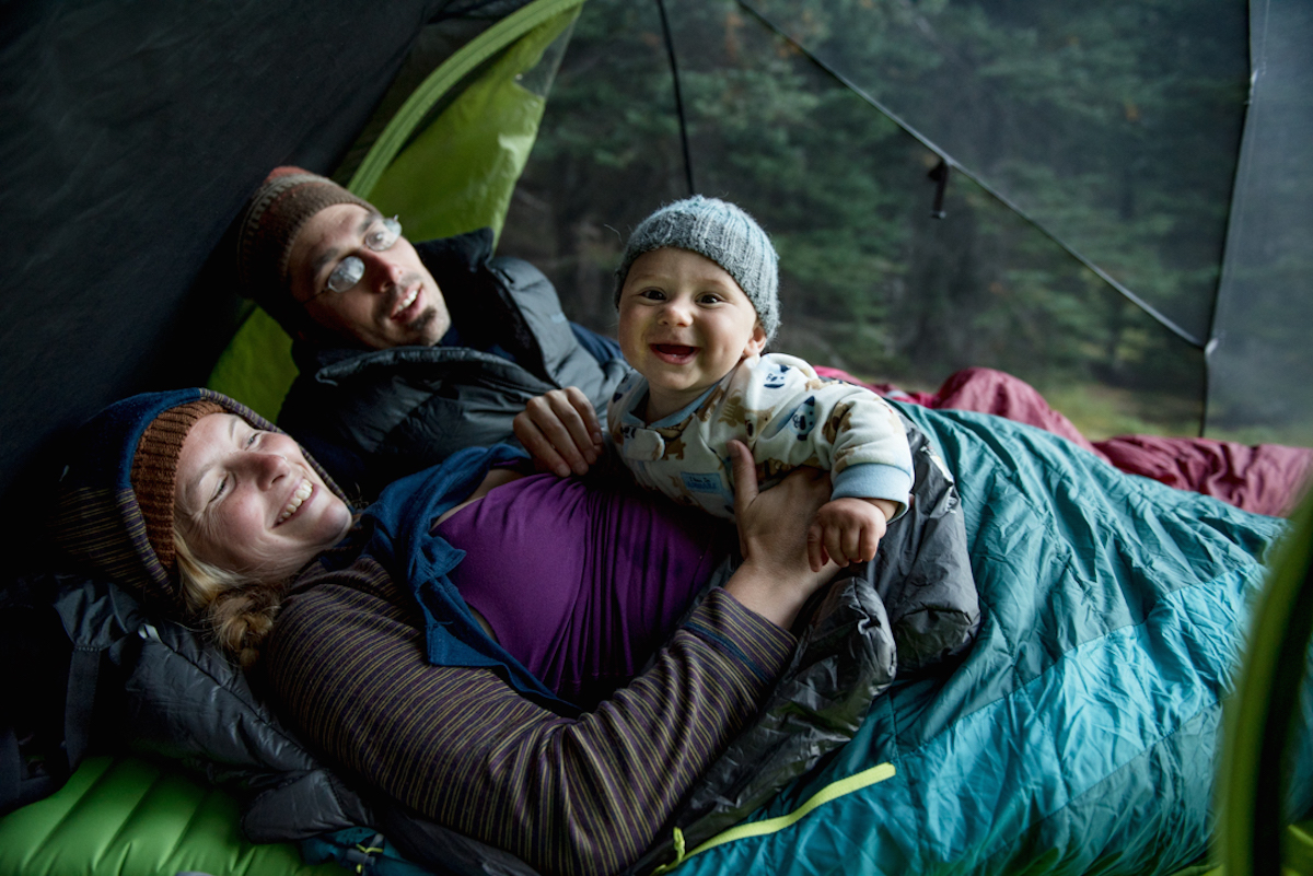 happy baby in camping tent