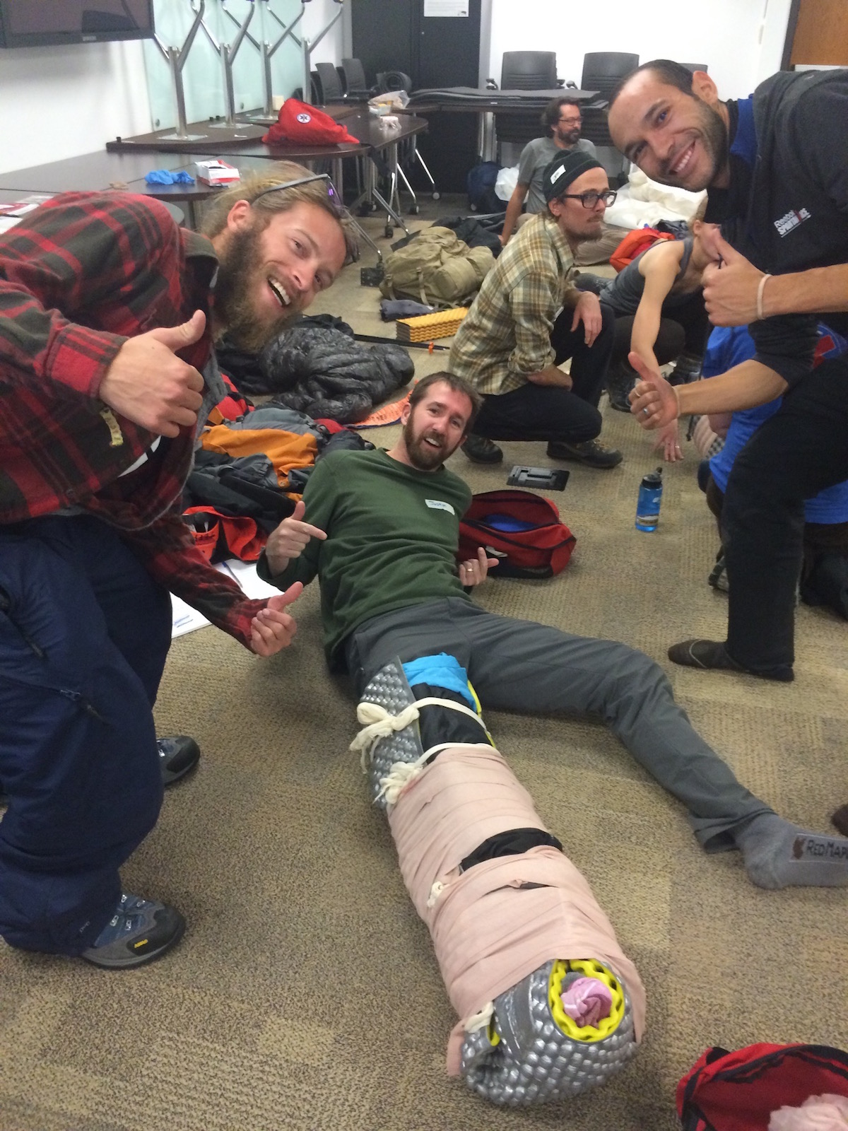 Our Wilderness First Responder class taught us to be resourceful with our gear!