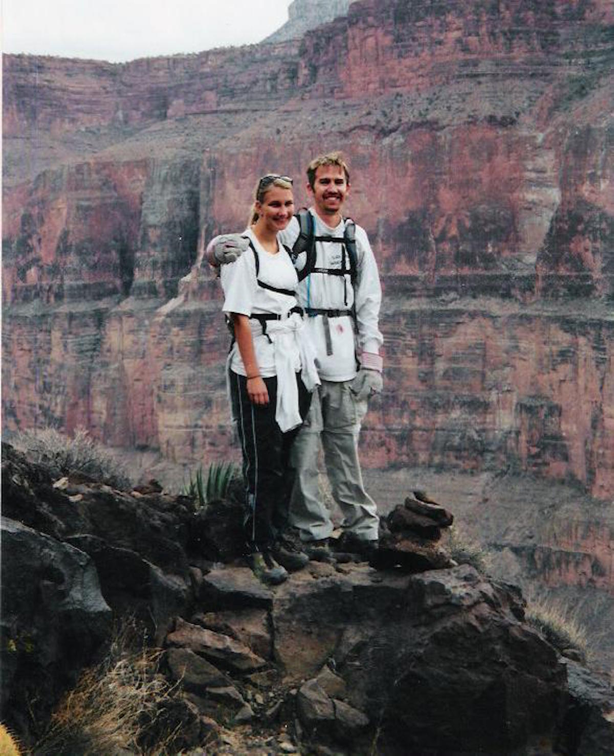 This is Justin and I on our first backpacking trip together in 2002. I think my favorite part of this picture is Justin's gardening gloves.