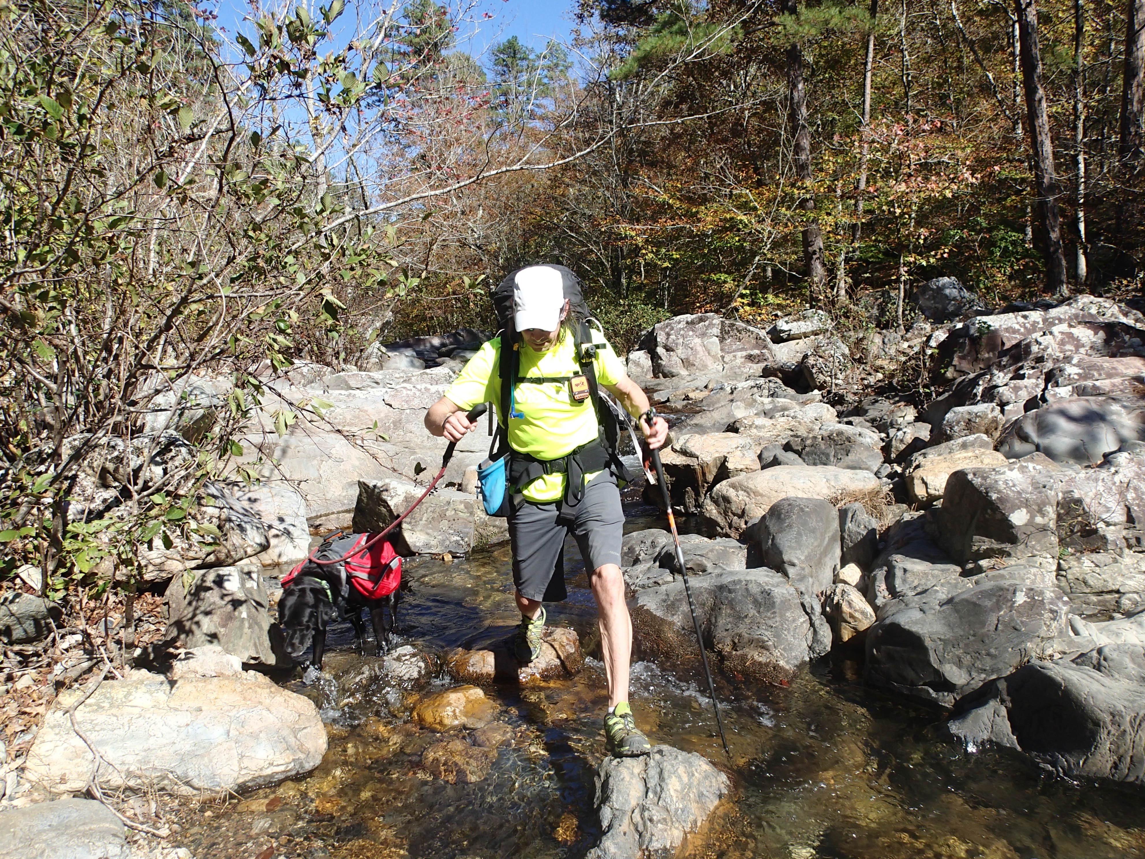 Trevor Thomas Hiking with Dog