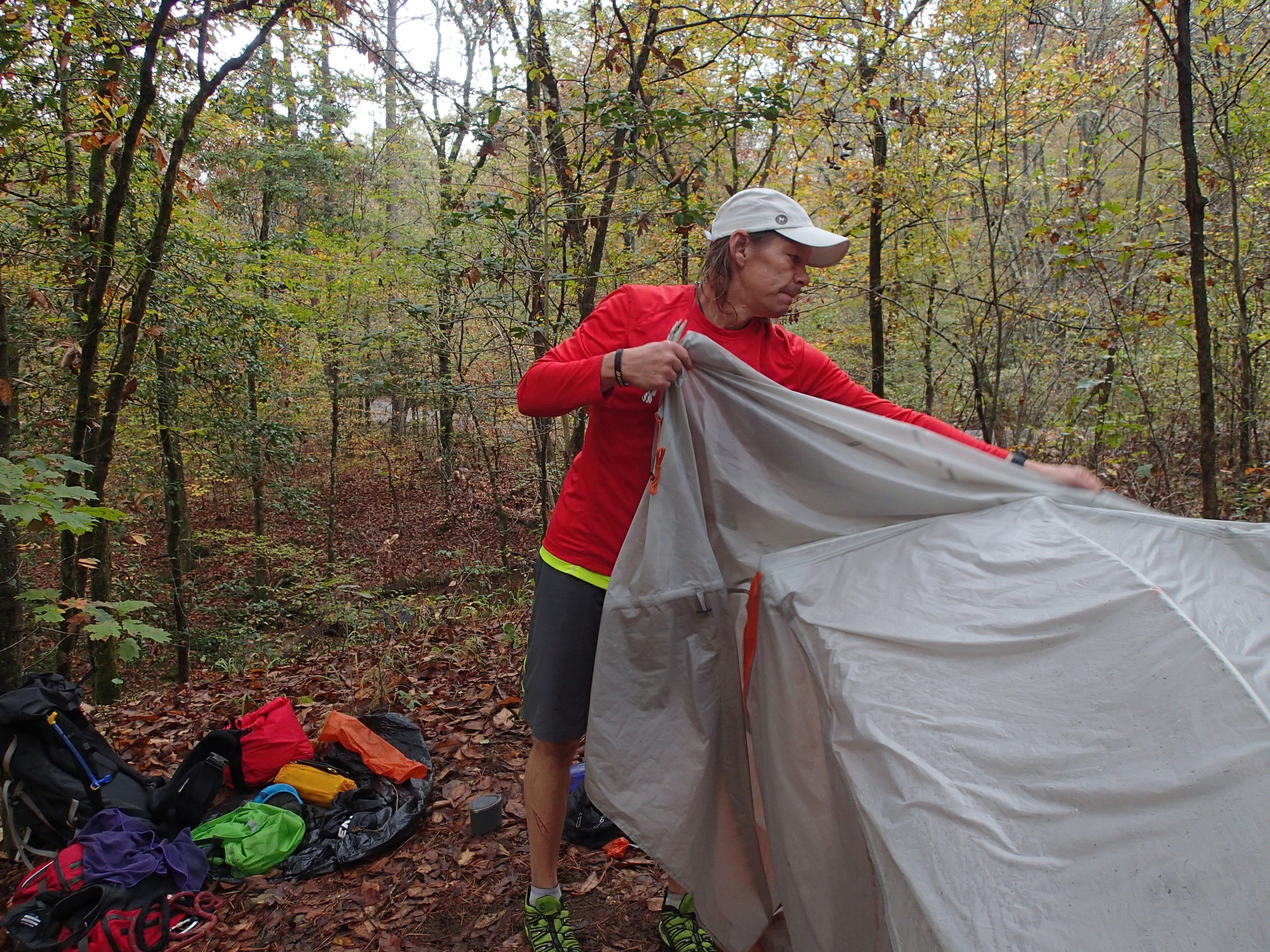 Trevor Thomas setting up camp