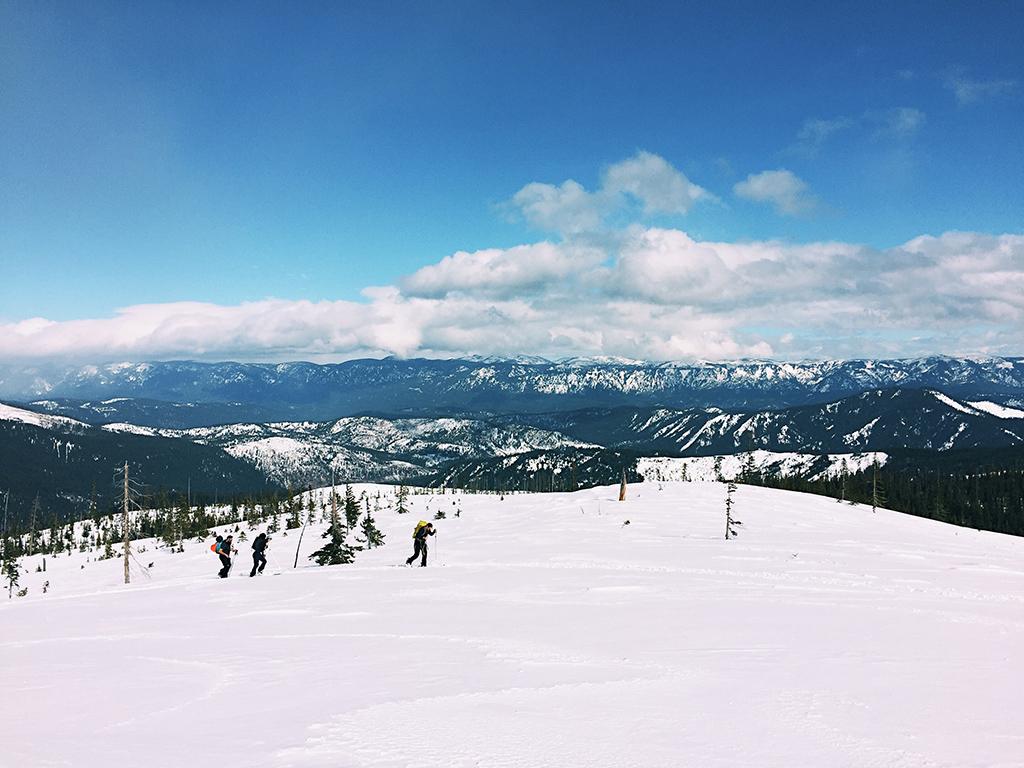 Winter adventure trekking across mountain