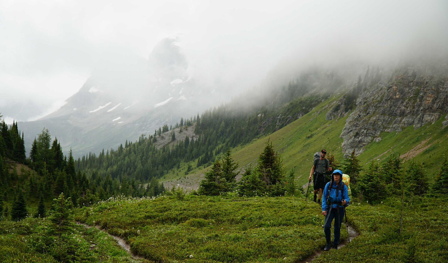 backpacking in the rain and mist