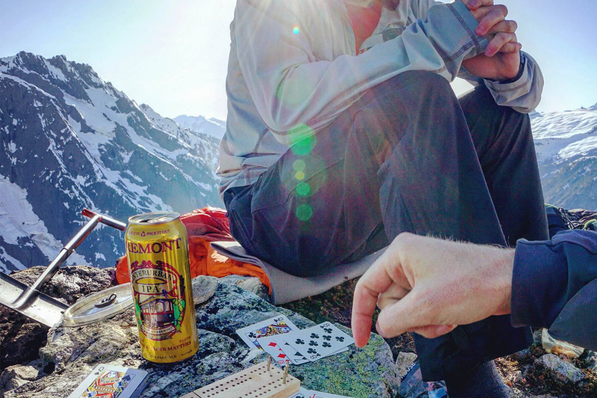 hiking break to play cards