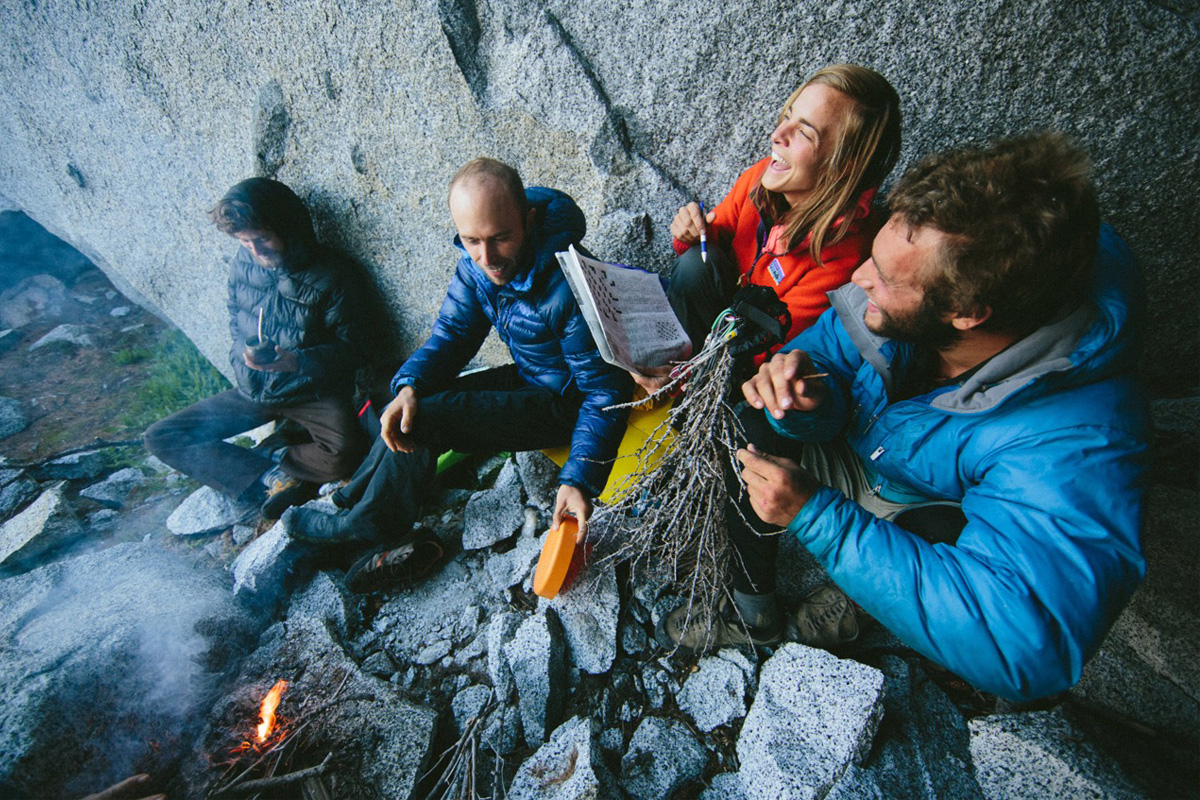 around campfire on backpacking trip
