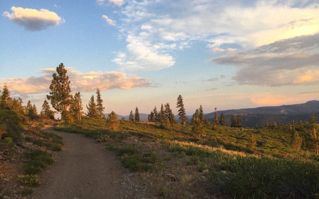 hiking trail at sunset