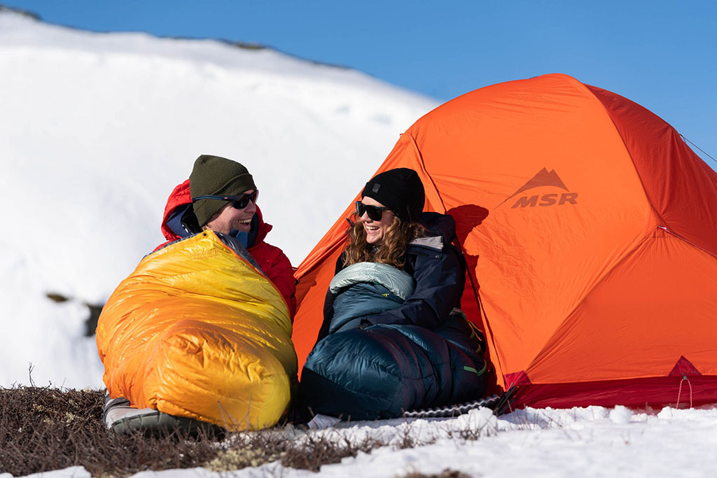 bright winter tent and cold weather sleeping bags