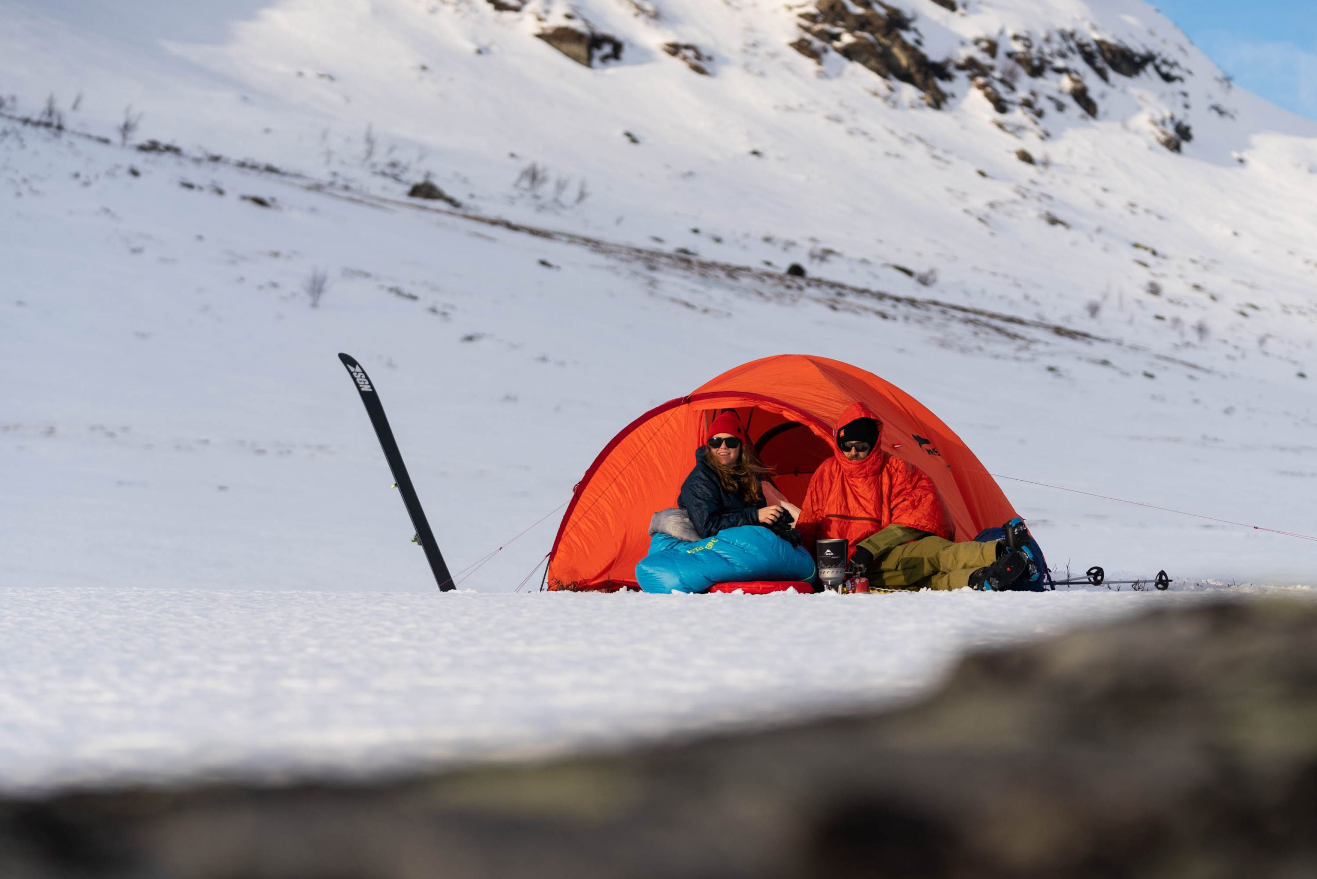 For snow camping, try to use a brightly colored tent so you're more visible should someone need to find you.