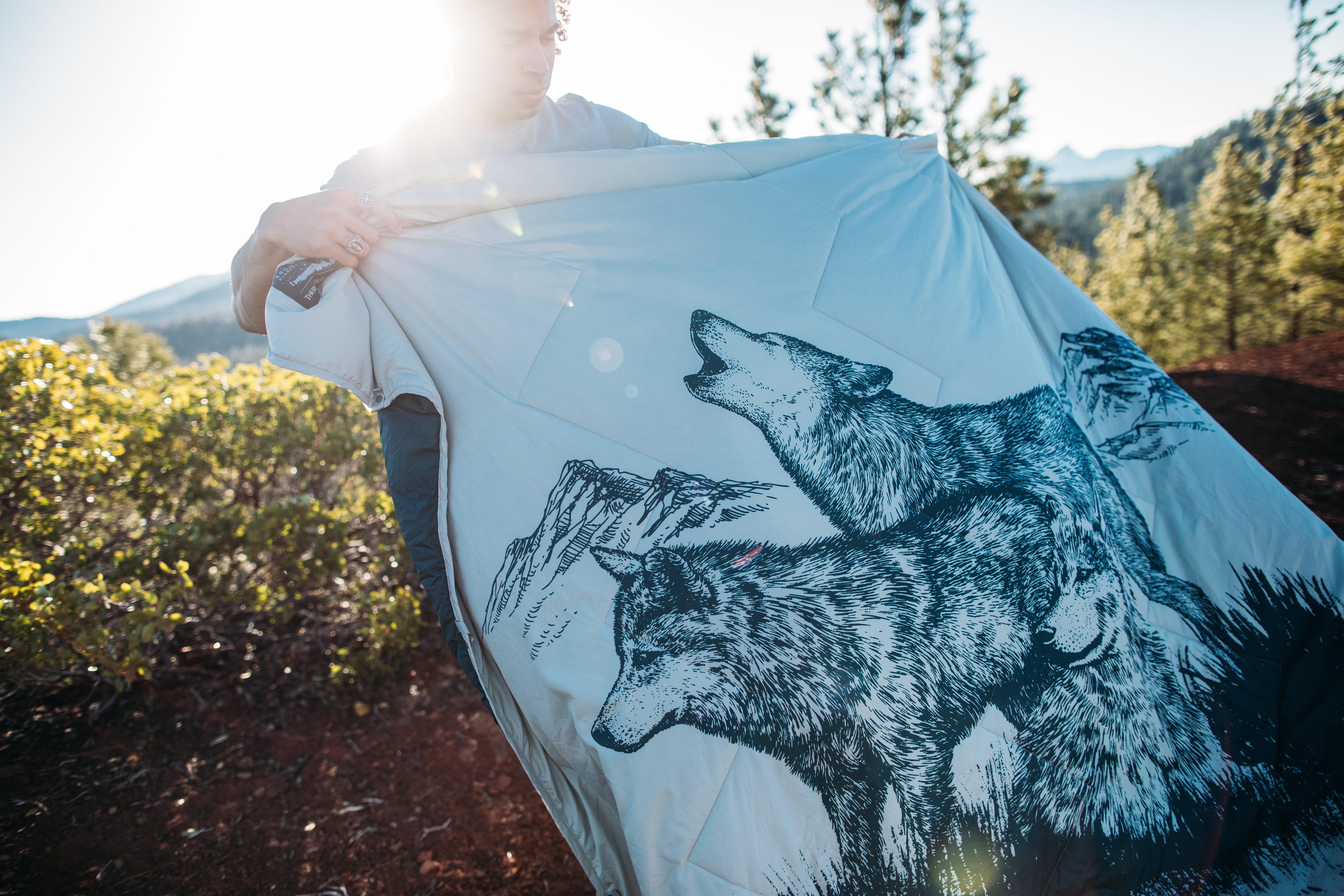 Camping Blanket with Wolves