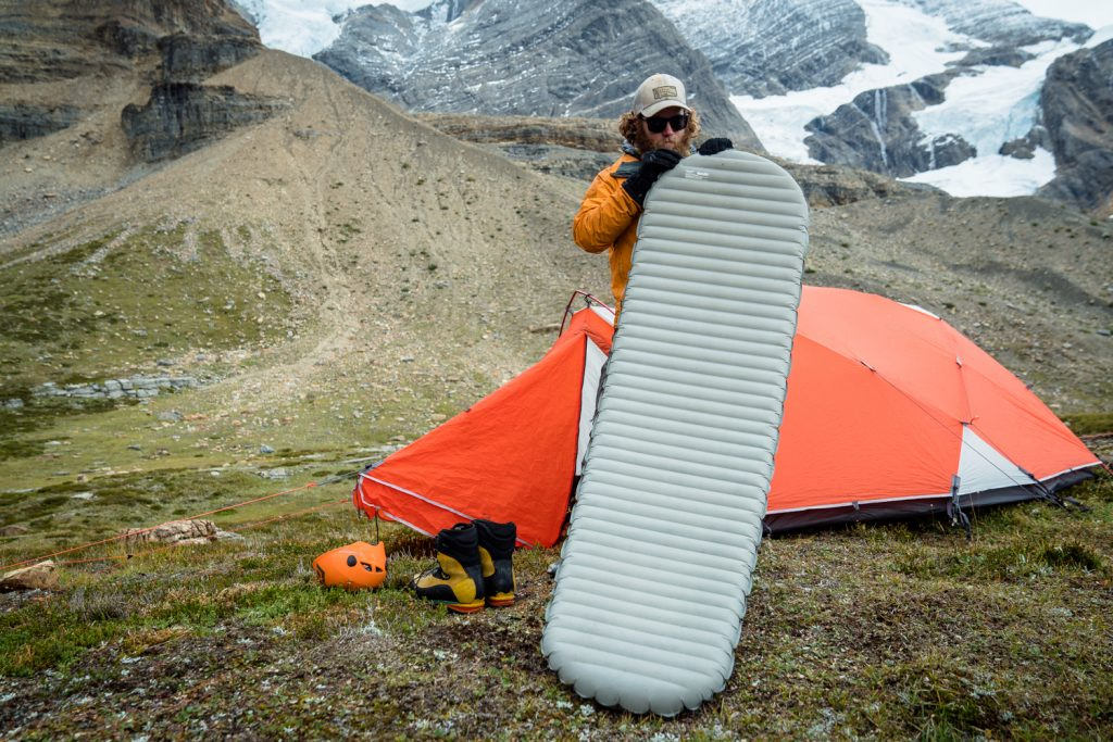 Climbers set up camp on Mount Robson