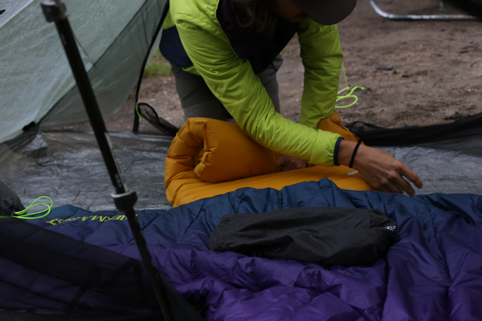 Setting up camp on trail while thru-hiking the Continental Divide