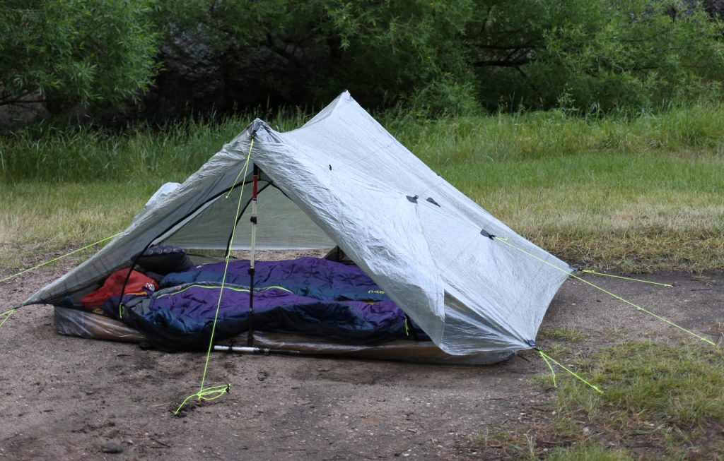 tent setup with Thermarest Space Cowboy sleeping bags