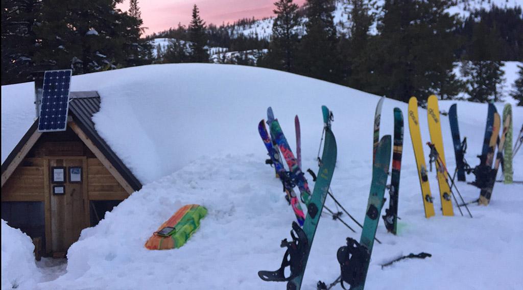 skis outside winter basecamp