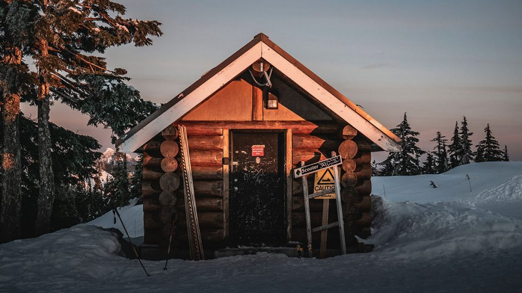 winter ski hut