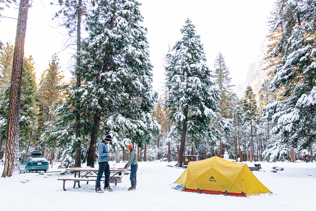 winter camping in the snow
