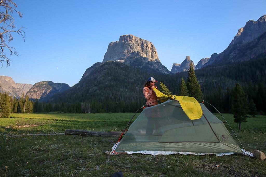 inflating sleeping pad on thru hike