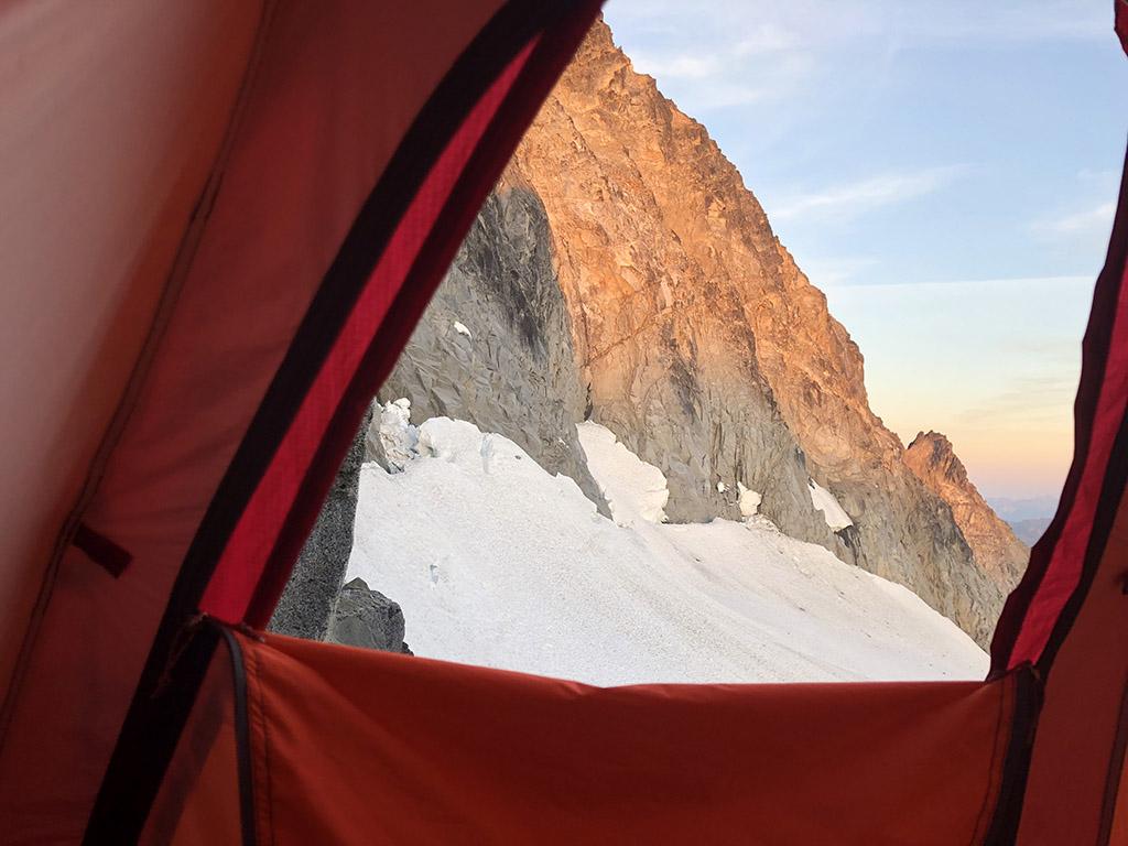 sleeping outside in tent