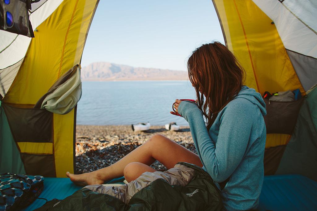 relaxing in tent