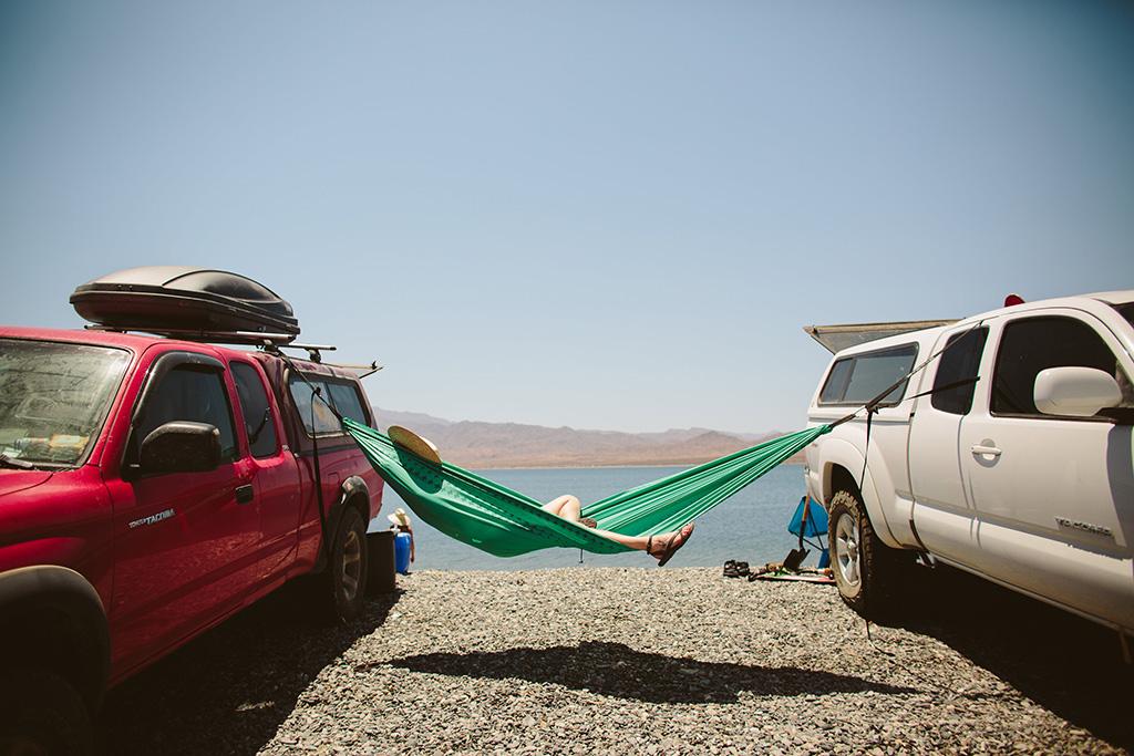lounging while car camping