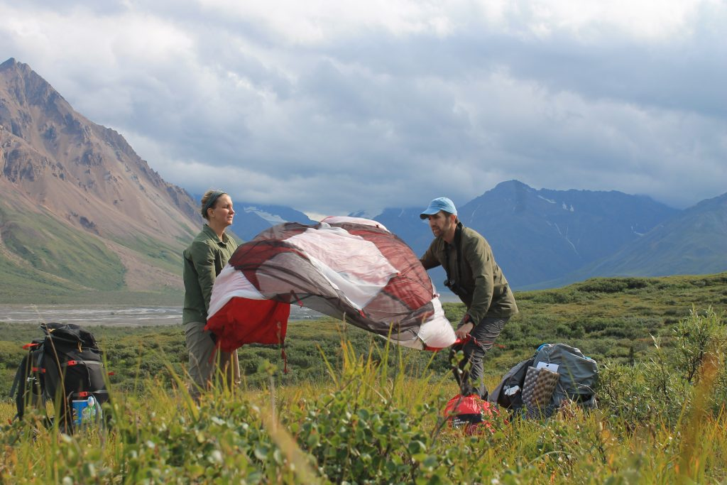 how to choose a campsite - setting up a tent in Denali