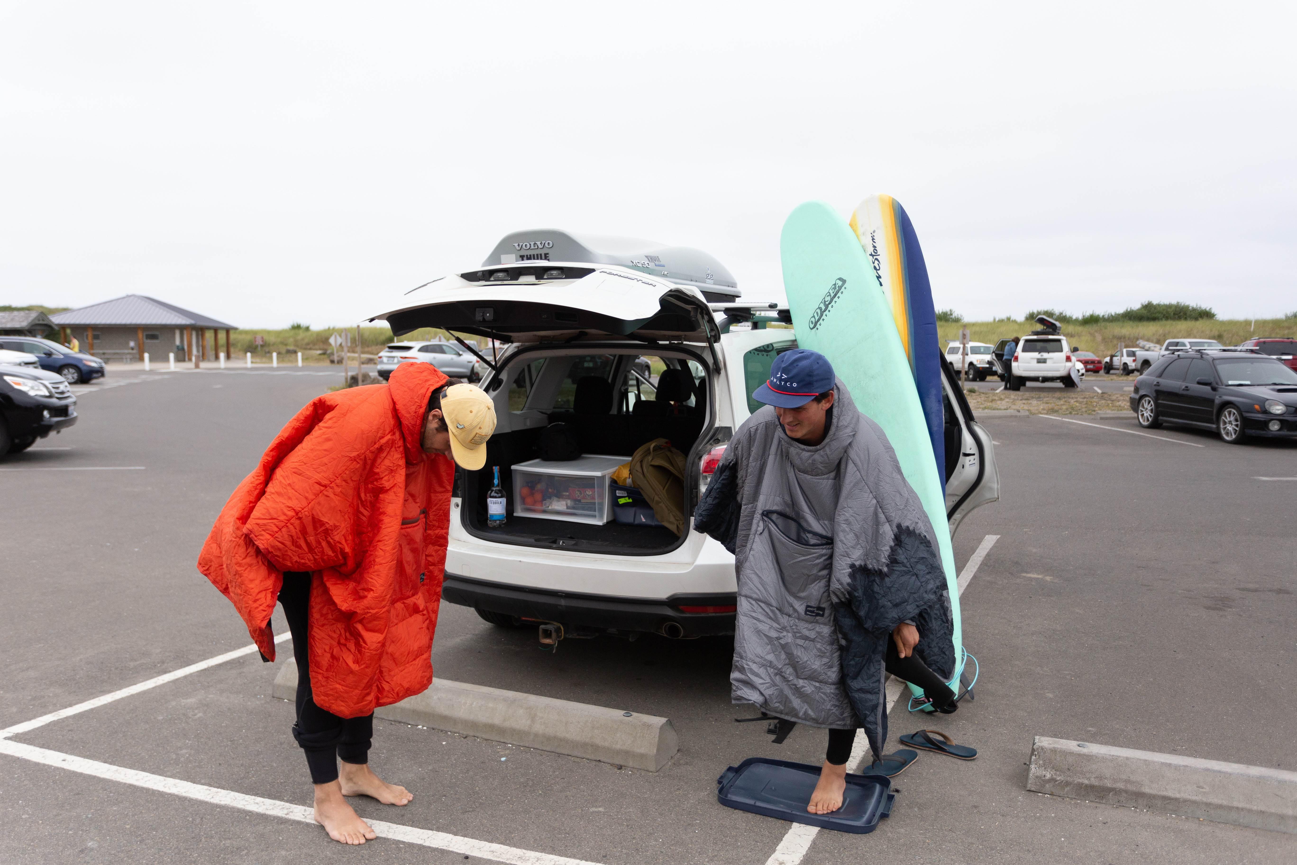 Changing into wetsuit with a honcho poncho
