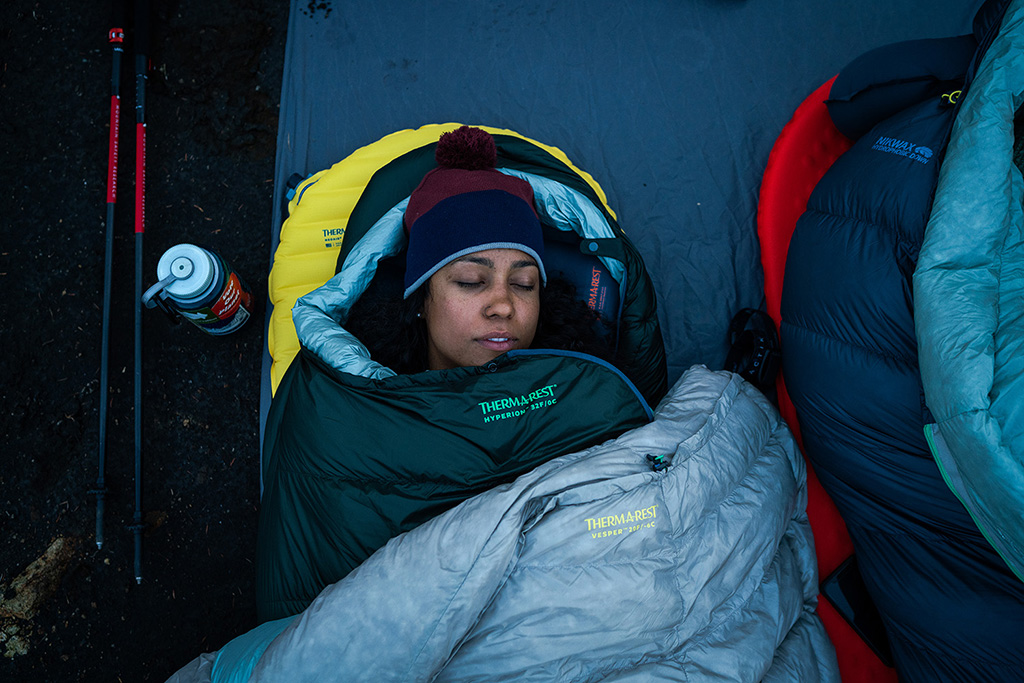 woman in sleeping bag