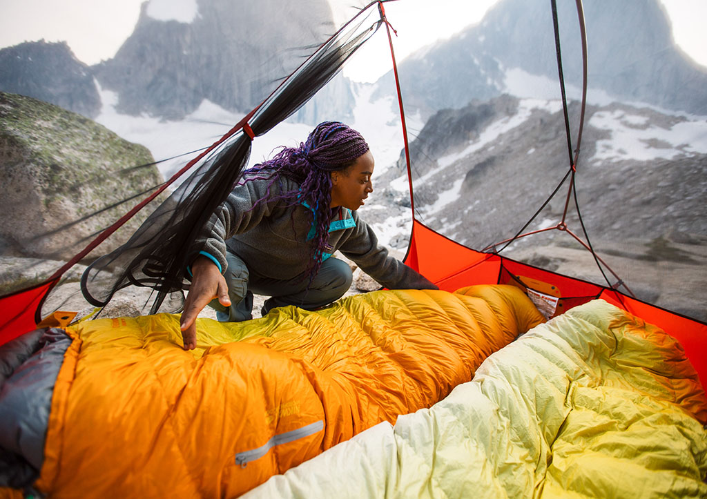 laying out sleeping bags