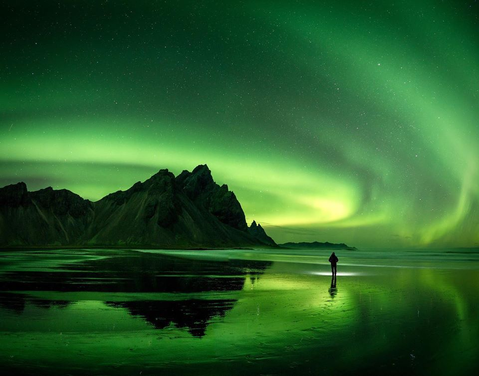 The Northern Lights dance in the sky