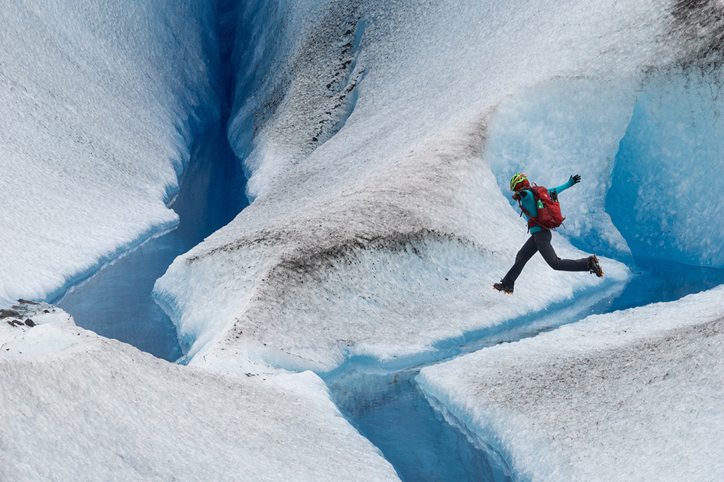 jumping over glacier