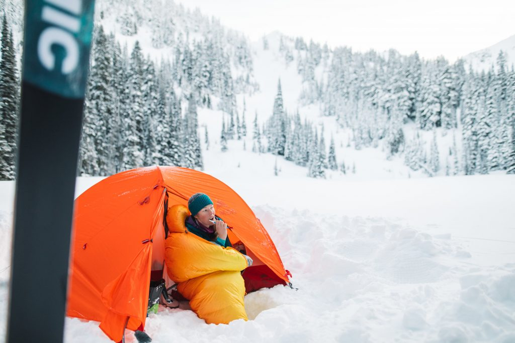 Oberon 0 Degree Sleeping Bag in the snowy Washington backcountry